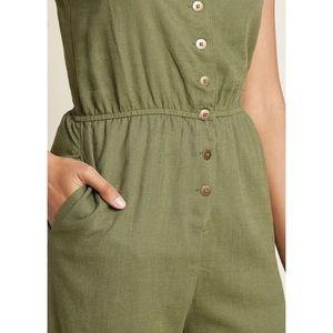 9b533f538fb Modcloth Pants - ModCloth Olive Cotton-Linen Sleeveless Jumpsuit